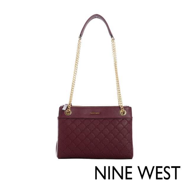 【NINE WEST】ELLIE氣質壓紋鍊帶肩背包-酒紅(116813)