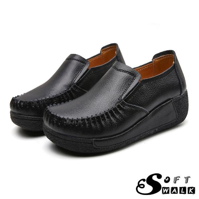 【SOFT WALK 舒步】真皮樂福鞋 厚底樂福鞋/真皮舒適寬楦手工縫線復古厚底坡跟樂福鞋(黑)