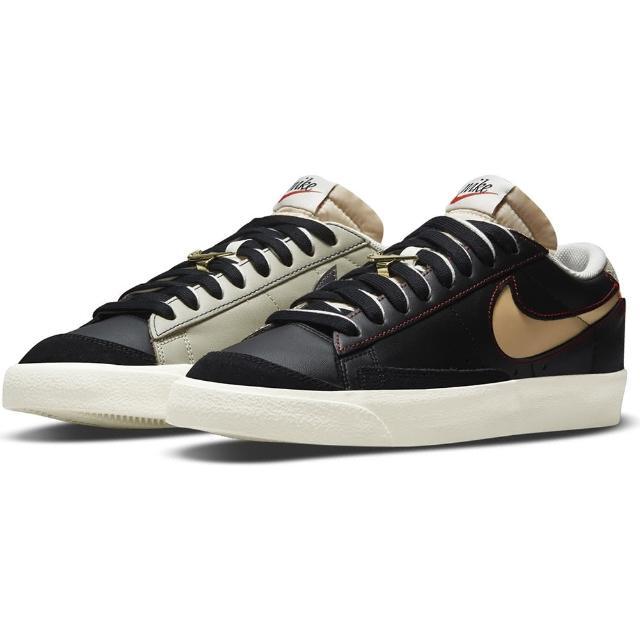 【NIKE 耐吉】運動鞋 BLAZER LOW 77 PRM 男鞋 休閒鞋 拼接黑(DH4370001)