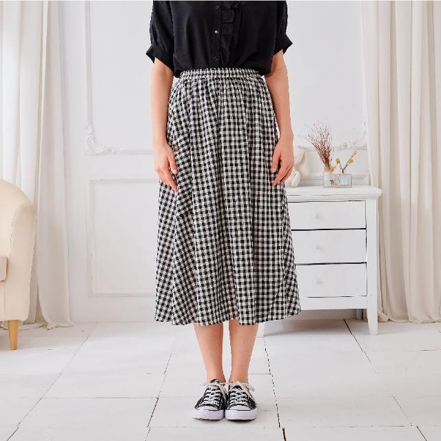 【KiKi】經典格紋彈性-女長裙 格紋 黑(黑色/版型適中)