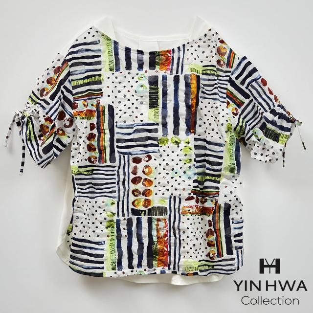 【YIN HWA 盈樺】FrescOggi 俏麗甜美多彩普普風圖案印花素面拼接上衣