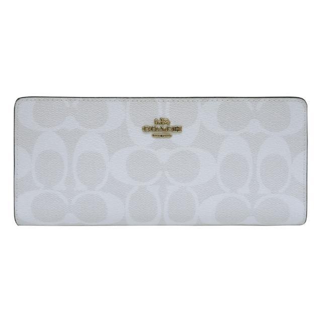 【COACH】COACH金字LOGO薄型印花PVC 12卡釦式對折長夾(白x卡其)