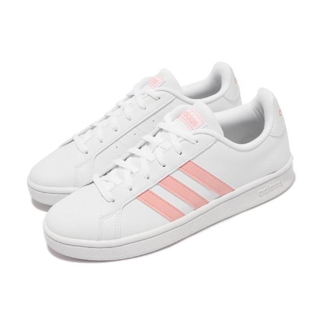 【adidas 愛迪達】休閒鞋 Grand Court Base 女鞋 海外限定 愛迪達 基本款 舒適 球鞋穿搭 白 粉(EG4055)