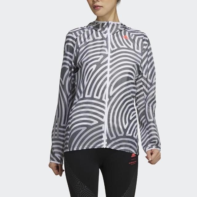 【adidas 愛迪達】外套 女款 運動 健身 慢跑 連帽 風衣 TYO RUN JK W 黑白 GD5033