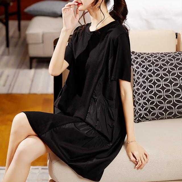 【麗質達人】3355黑色短袖假二件洋裝(L-5XL)