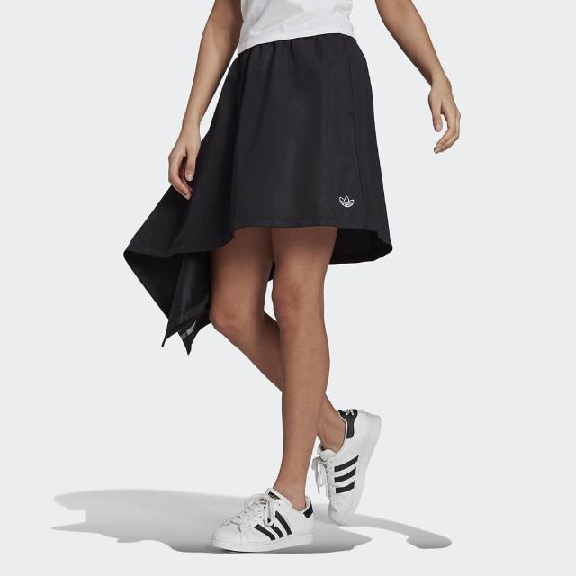 【adidas 愛迪達】長裙 女款 運動 寬版 半身群 三葉草 SKIRT 黑 GN3192