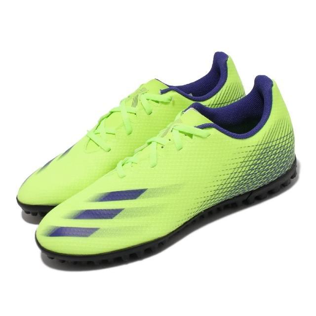 【adidas 愛迪達】足球鞋 X Ghosted.4 TF 運動 男鞋 海外限定 愛迪達 草地球場 包覆 球鞋 綠(EG8238)