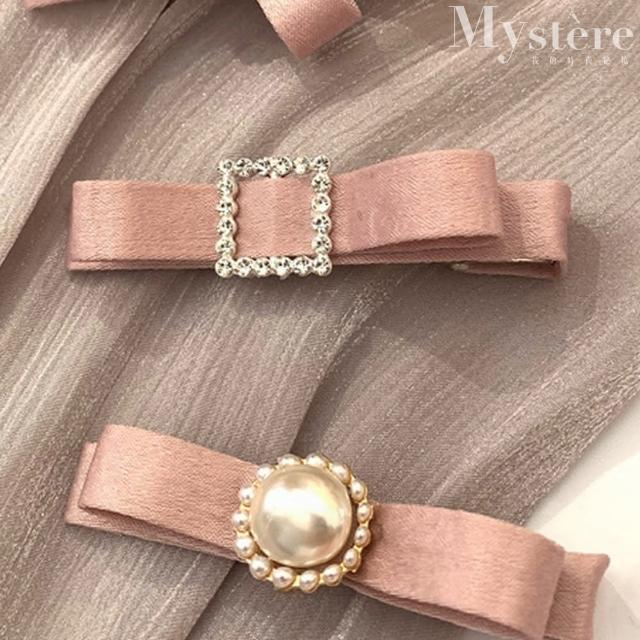 【my stere 我的時尚秘境】優雅氣質珠光緞面蝴蝶髮夾-粉(韓式 氣質 緞面 珍珠 蝴蝶結)