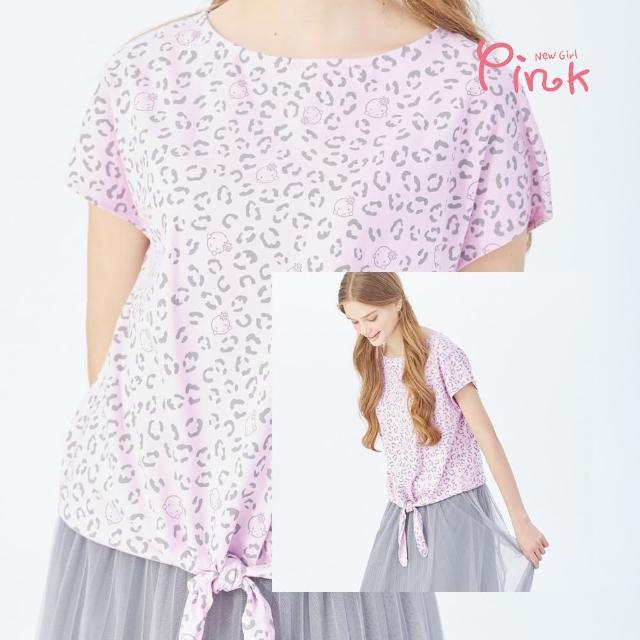 【PINK NEW GIRL】滿版小米豹紋印花短袖上衣 J1309AQ(下綁結棉T)