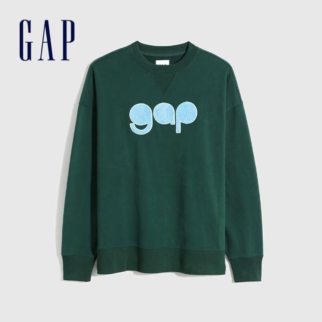 【GAP】男裝 Logo法式圈織軟休閒上衣(756678-綠色)