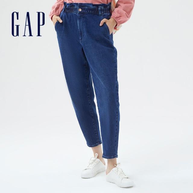 【GAP】女裝 復古鬆緊花苞牛仔褲(756385-水洗藍)