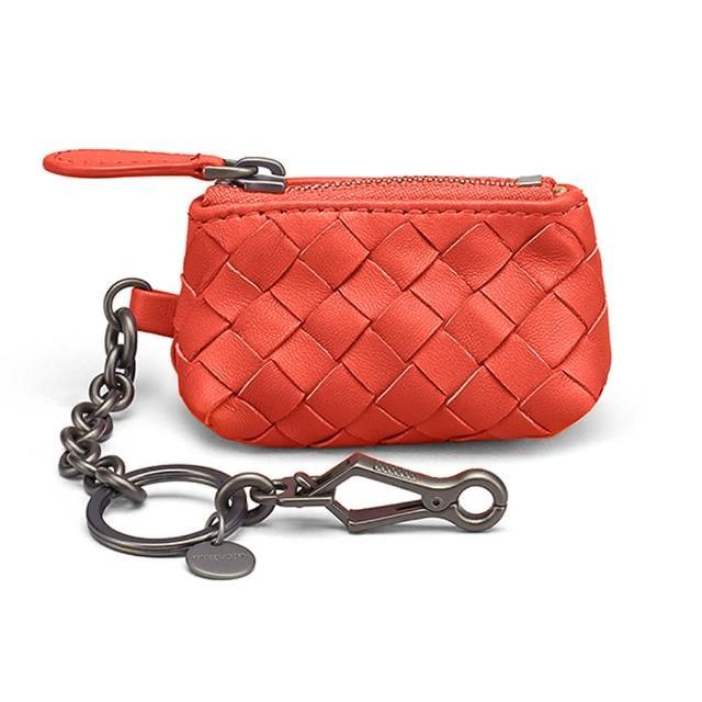 【BOTTEGA VENETA 寶緹嘉】474567 經典編織小羊皮吊鍊鑰匙包/零錢包(橘色)