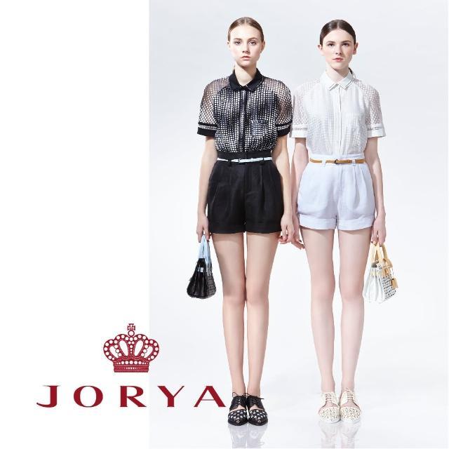 【JORYA】weekendH2200201點點幾何透膚短袖襯衫式上衣