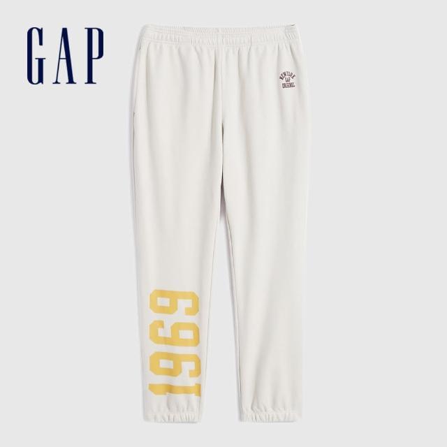【GAP】男裝 印花法式圈織軟休閒褲(735484-灰白色)