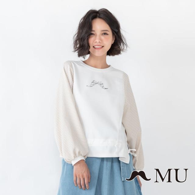 【maru.a】MU 胸前LOGO印花拼接小格紋下擺抽繩上衣(白色)