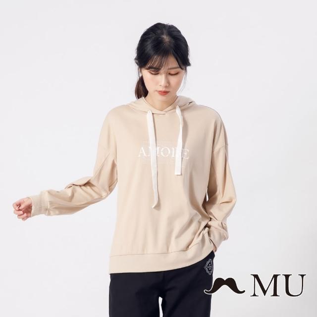 【maru.a】MU 胸前印花袖子抓皺連帽上衣(卡其)