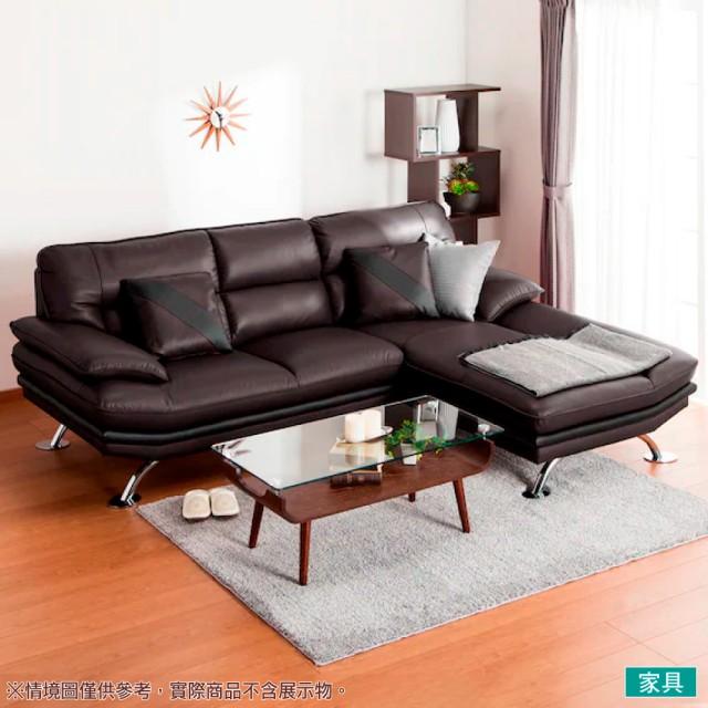 【NITORI 宜得利家居】◎半皮L型左躺椅沙發 LOZO4 DBR(L型沙發 角落沙發 躺椅沙發)