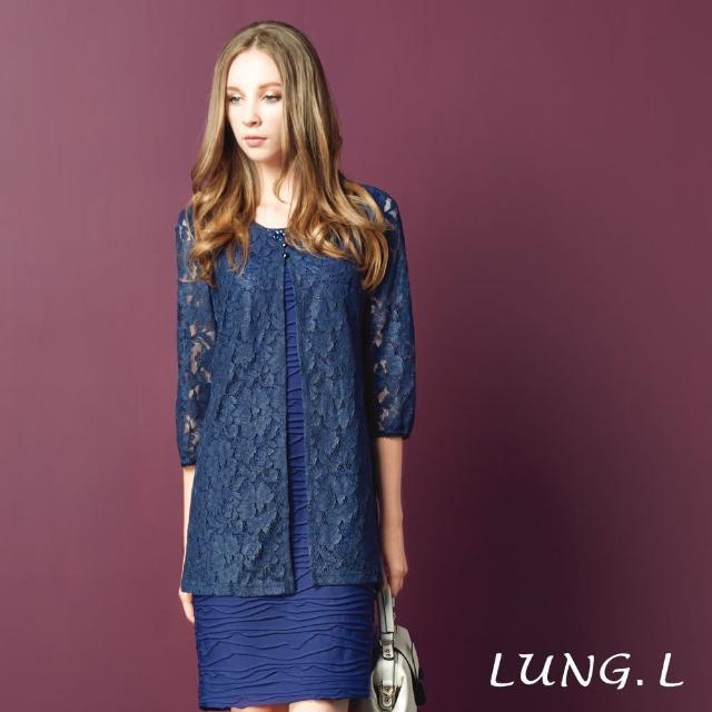 【LUNG.L 林佳樺】LF51H#藍色蕾絲外罩假二件式七分袖洋裝(女裝洋裝)