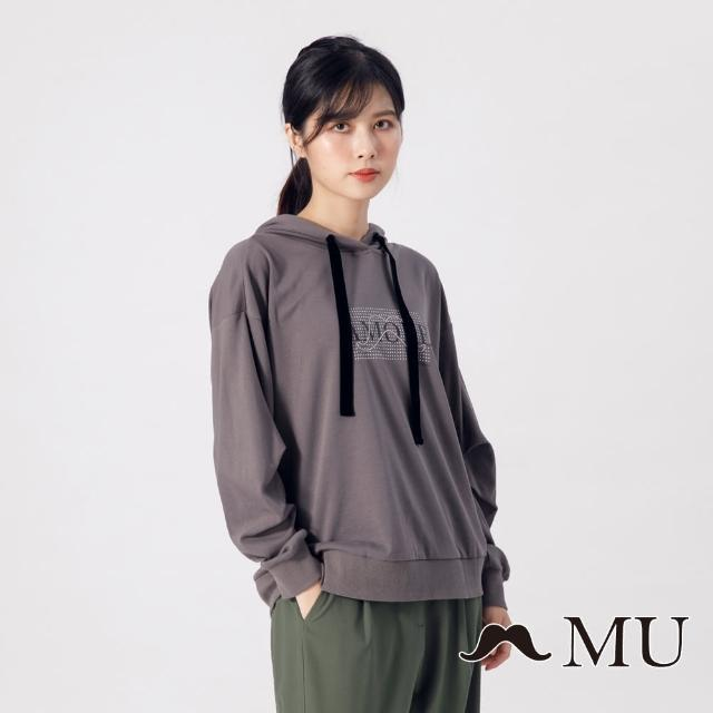 【maru.a】MU 胸前印花袖子抓皺連帽上衣(深灰)