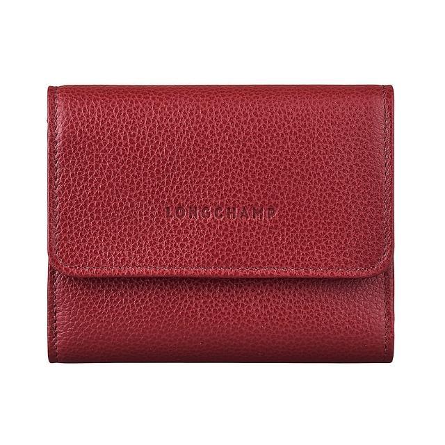 【LONGCHAMP】LONGCHAMP LE FOULONNE壓印LOGO牛皮6卡扣式短夾(紅)