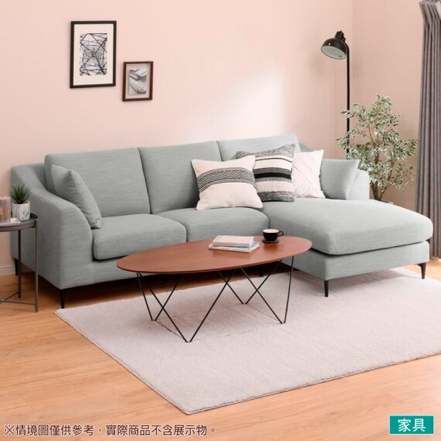 【NITORI 宜得利家居】◎布質左躺椅L型沙發 N-POCKET A15 DR-MGY(L型沙發 角落沙發 躺椅沙發)
