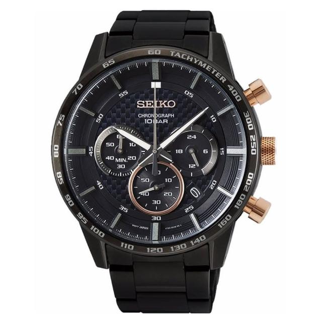 【SEIKO 精工】CS獨賣賽車三眼黑鋼帶計時手錶45.2mm(SSB361P2/8T63-00L0SD)