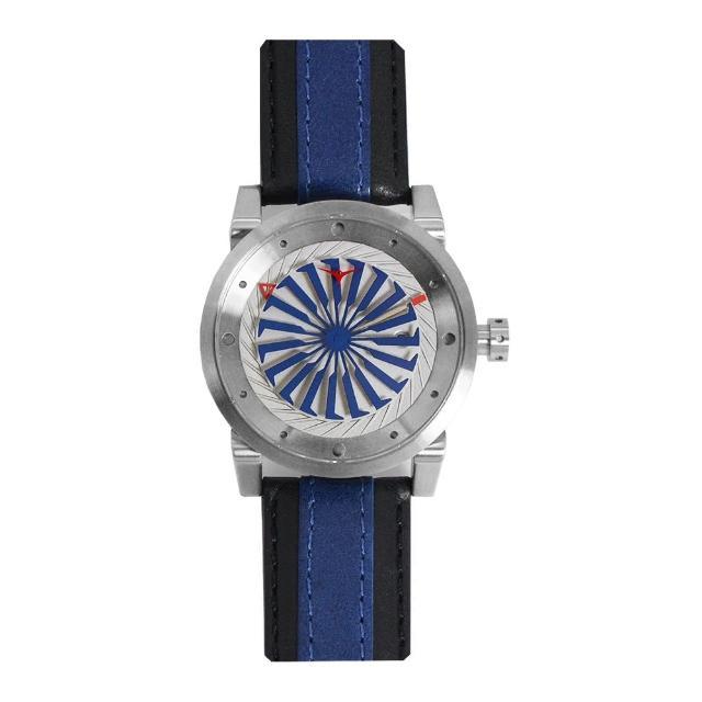 【ZINVO】銀殼 藍黑皮革錶帶 機械腕錶 贈機械錶自動上鍊盒 父親節禮物首選(Blade Marine)