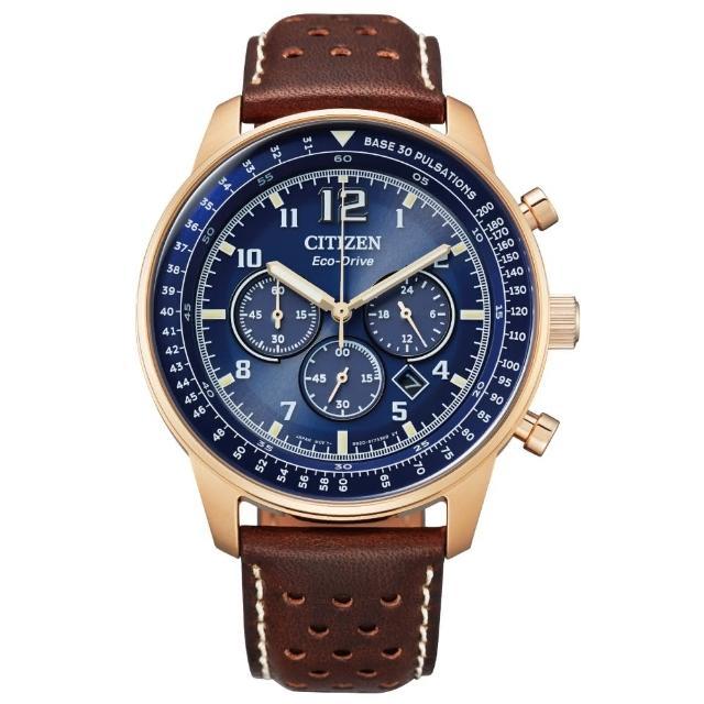 【CITIZEN 星辰】美式休閒三眼計時光動能腕錶(CA4503-18L)