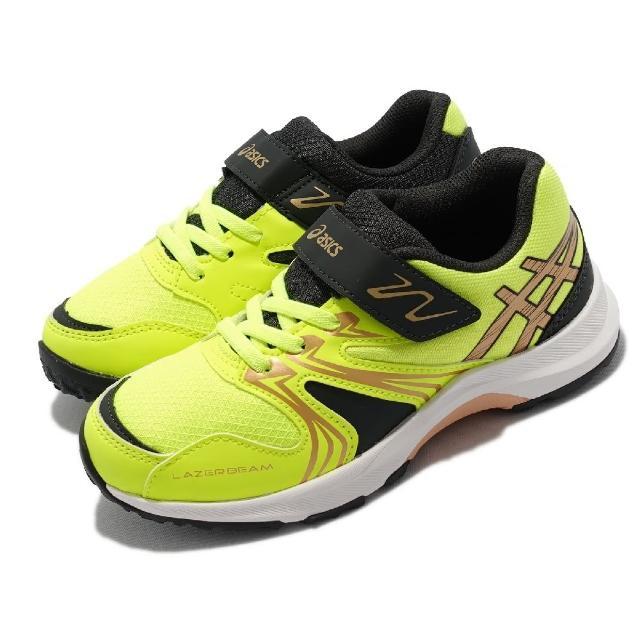 【asics 亞瑟士】慢跑鞋 Lazerbeam KA-MG 童鞋 亞瑟士 魔鬼氈 網布 運動 抓地 中童 黃 金(1154A109751)