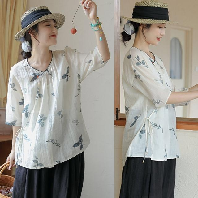 【設計所在】手工拓印精織苧麻斜襟漢服印花上衣T恤 S210525(S-L可選)