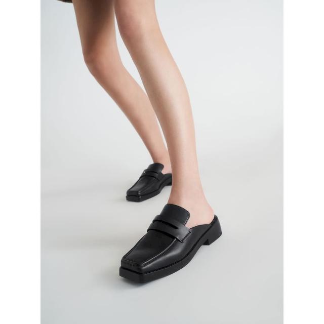 【CHARLES & KEITH】方頭厚底穆勒鞋-黑色
