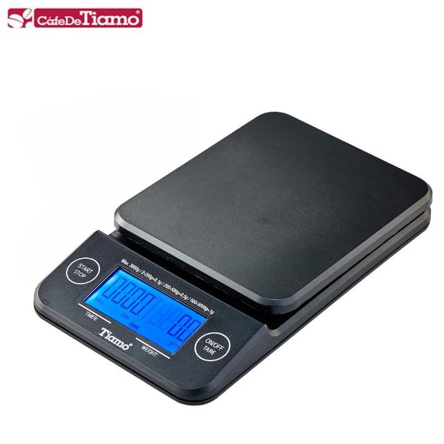 【Tiamo】KS-900專業計時電子秤 2kg 藍光-黑色款(HK0513-1BK)