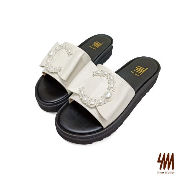 【SM】真皮時尚大C珍珠拖鞋(米白色)