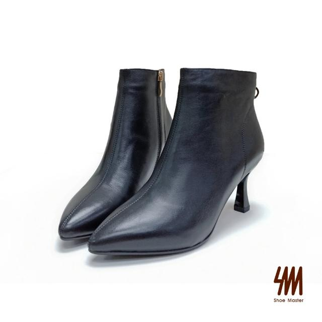 【SM】尖頭素面質感梯形細跟靴(經典黑)