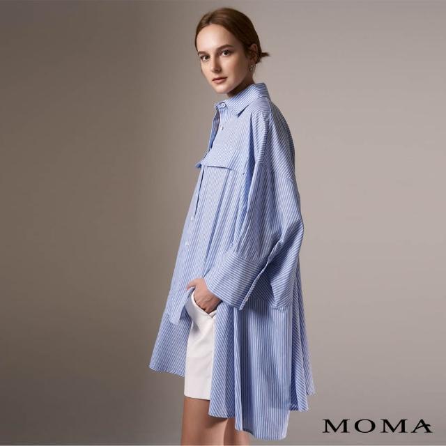 【MOMA】率性條紋寬版襯衫(藍色)