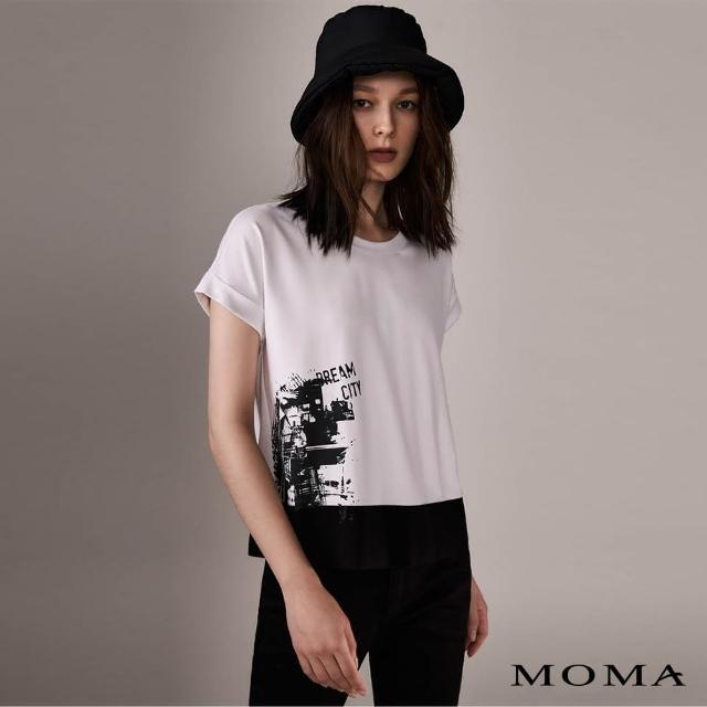 【MOMA】率性印花拼接T恤(白色)