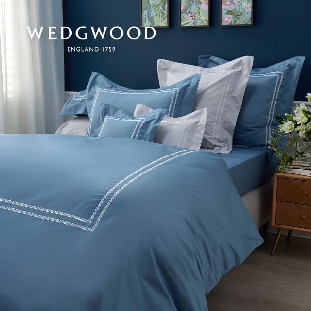 【WEDGWOOD】400織長纖棉刺繡鬆緊床包-璀璨蒼青(雙人150x186cm)