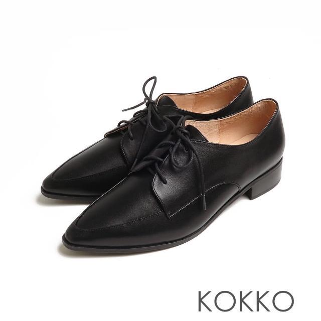 【KOKKO 集團】方頭女紳啞光舒壓牛皮粗跟牛津鞋(黑色)