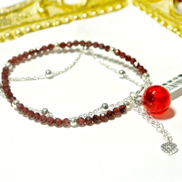 【AK】香芬珠寶(半寶石手鍊-銀鍊紅石榴)